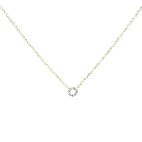 BITZ CUBIC ZIRCONIA PAVE MINI ROUND PENDANT SHORT NECKLACE TWO COLOR OPTIONS - PERFECT FOR GIRLS!