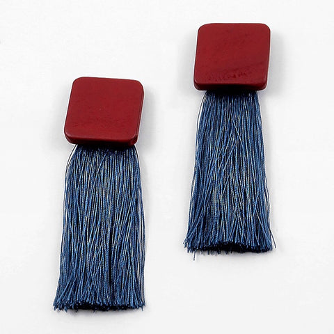WOOD N BLUE THREAD TASSEL FRINGE EARRING