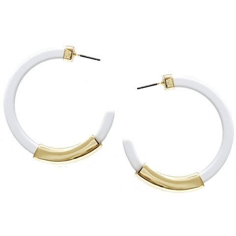 BITZ Metal Bar Acetate Hoop Earrings