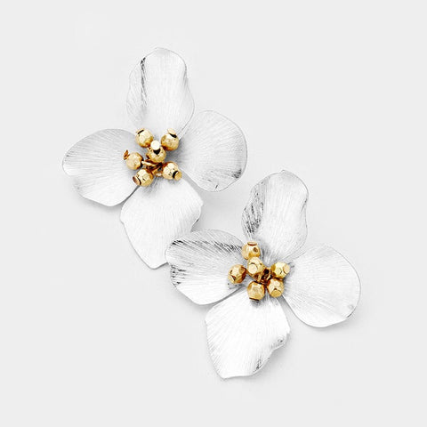 BITZ FALL FLOWER METAL STUD EARRING