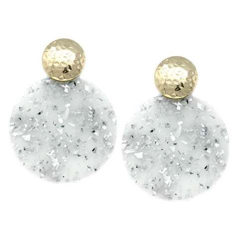 BITZ HAMMERED N GLITZ DISC EARRING - GREY