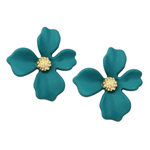 BITZ Matte Finished Flower Stud Earrings - TEAL