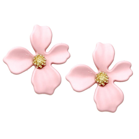 BITZ Matte Finished Flower Stud Earrings - PINK