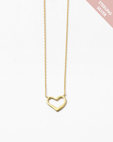 BITZ GOLD PLAIN HEART DELICATE NECKLACE - 925 STERLING SILVER