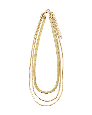 BITZ NEW TRIPLE LAYERED HERRINGBONE NECKLACE