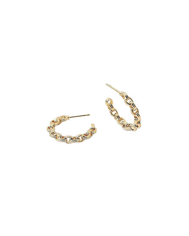 BITZ PETITE GOLD CUBAN LINK CHAIN HOOPS - HOOP EARRINGS