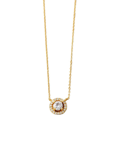 BITZ SOLITAIRE CZ STERLING SILVER NECKLACE