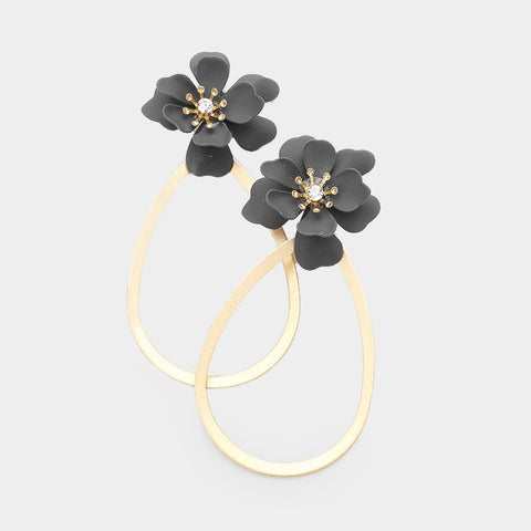 BITZ BLOOM FLOWER HOOP EARRING