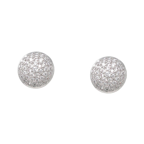 BITZ LUXE Cubic Zirconia Pave Disc Stud Earrings