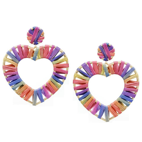BITZ RAINBOW BURST RAFFIA WRAPPED HEART EARRINGS