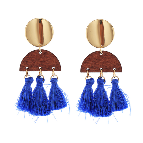 BOHO TASSEL N WOOD EARRING - BLUE