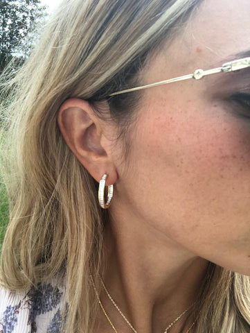 NEW BITZ CZ HOOP INSIDE OUTSIDE GOLD EARRING