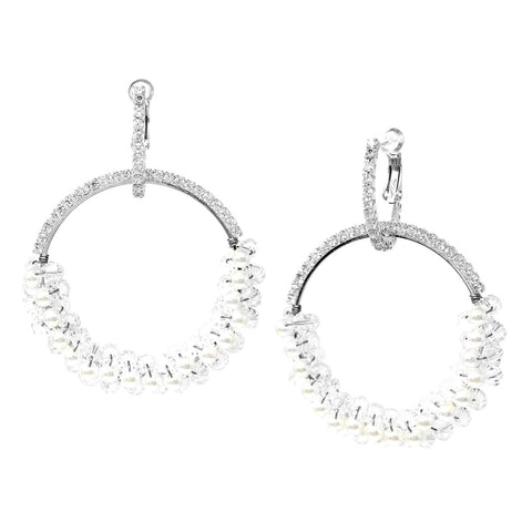 BITZ Pearl/ Glass Bead Wrapped CZ Pave Hoop Drop Earrings