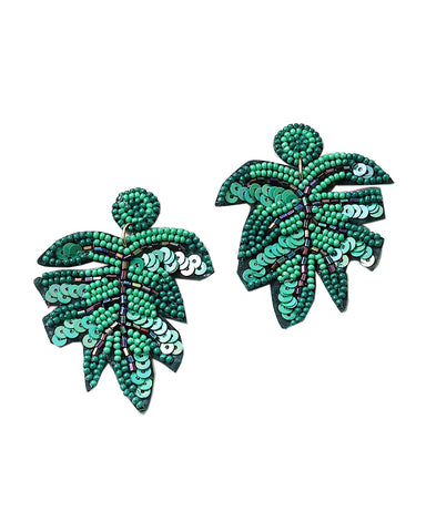BITZ BEADED RESORT PALM LEAF EARRING