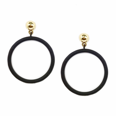 MATTE METALS HOOP EARRING - BLACK