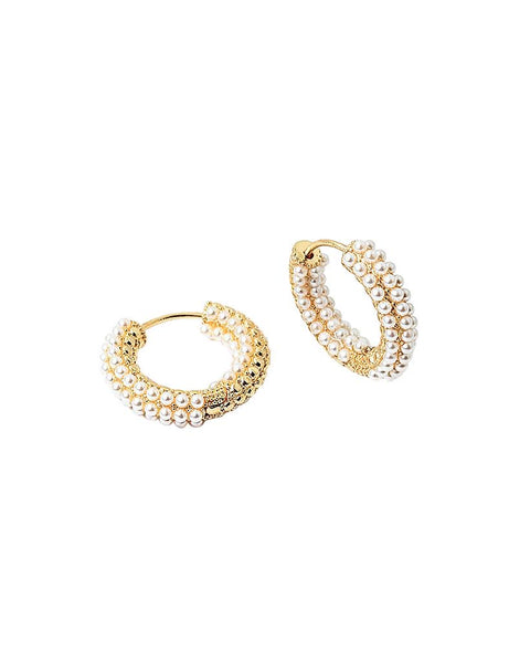 BITZ SPRING PETITE BEADED HOOP EARRING - 4 COLORS