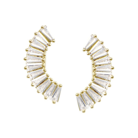 CZ PAVE CURVED BAR GOLD DIPPED EARRINGS - GOLD EAR CRAWLERS