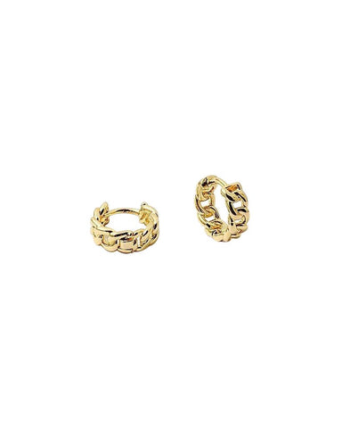 BITZ CUBAN GOLD HOOP TWISTED HUGGIES EARRINGS