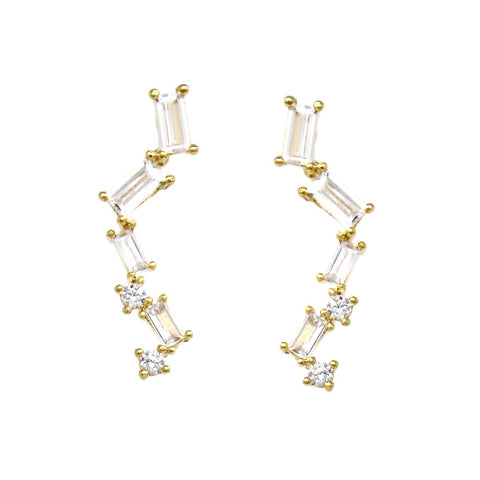 BITZ CZ Pave Bar Gold Dipped Ear Crawler Earrings TWO COLOR OPTIONS - GOLD OR SILVER