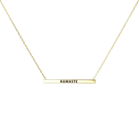 NAMASTE Inspirational Message Pendant Short Necklace - GOLD DIPPED