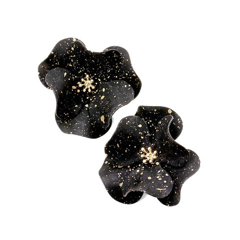 BITZ BLACK  PAINTED FLOWER OVERSIZED STUD EARRING