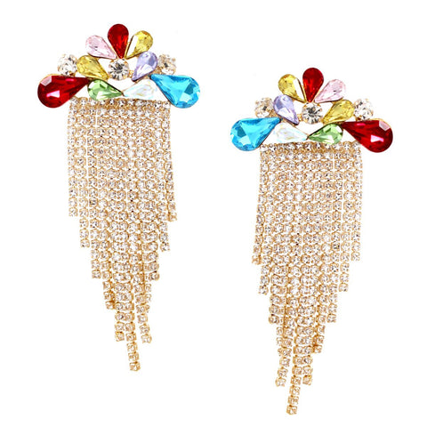 BITZ Glass Stone cluster With Rhinestone Chain Fringe Drop Earrings - GOLD