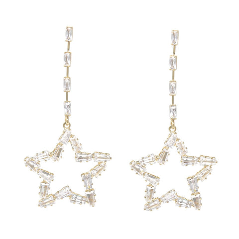 BITZ CZ PAVE STAR Long Drop Earrings