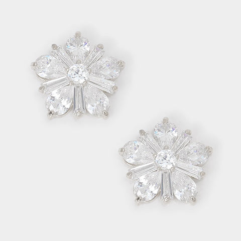 BITZ CRYSTAL + CZ FLOWER STUD EARRINGS