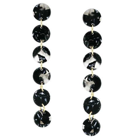 MARBLE LINEAR EARRING - BLACK
