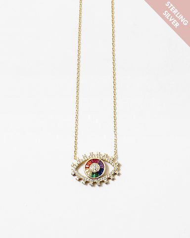 BITZ DELICATE EVIL EYE N RAINBOW NECKLACE - 925 STERLING SILVER