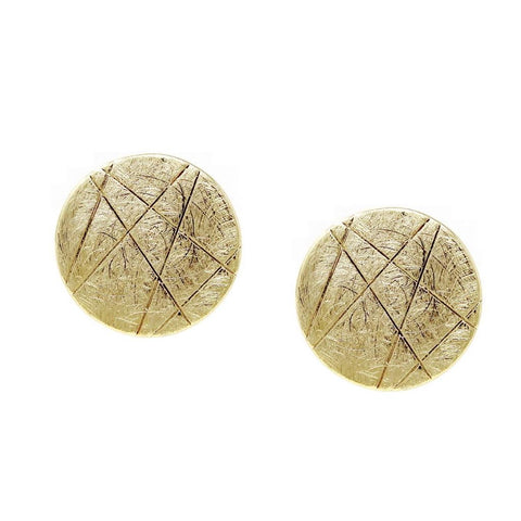 BITZ TEXTURED BRUSHED METAL ROUND STUD EARRINGS