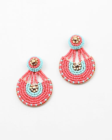 BEADED STATEMENT  EARRING - MINI - 3 COLORS