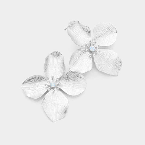 BITZ FLOWER BLOOM METAL STUD EARRING