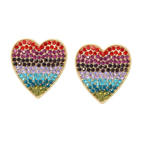 BITZ OVERSIZED Rhinestone Pave Heart Stud Earrings