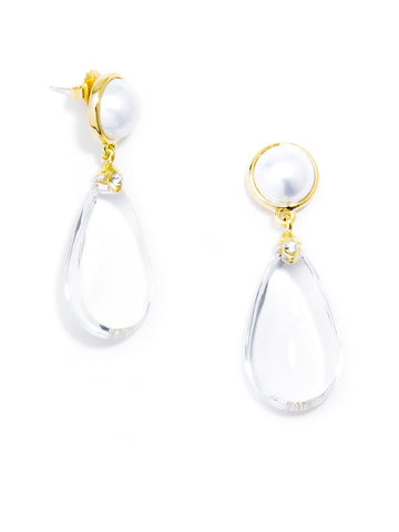 LUCITE PEARL DROP EARRING