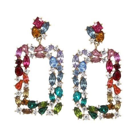BITZ RECTANGLE  RAINBOW GLAM STATEMENT EARRING