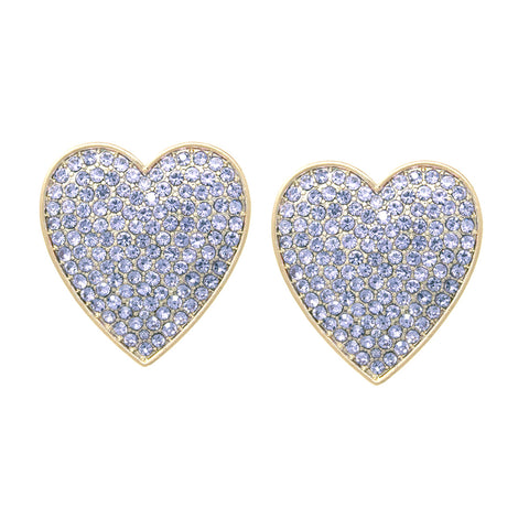 BITZ OVERSIZED Rhinestone Pave Heart Stud Earrings - LAVENDER!