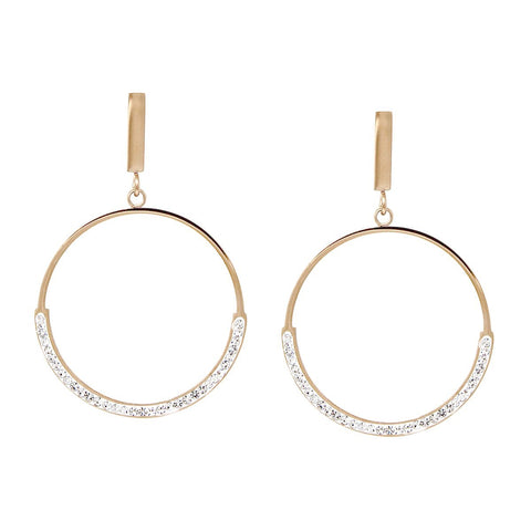 BITZ CZ PAVE HOOP DROP EARRING - GOLD