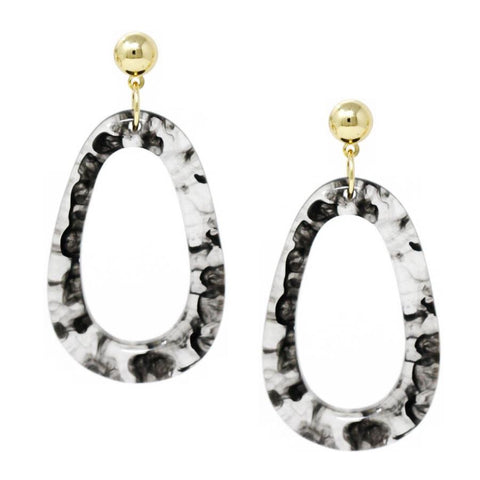 BITZ IRREGULAR HOOP DROP EARRINGS - GREY