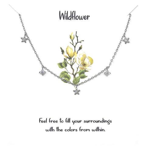BITZ STORY WILDFLOWER Cubic Zirconia Pave Flower Pendant Simple Chain Necklace