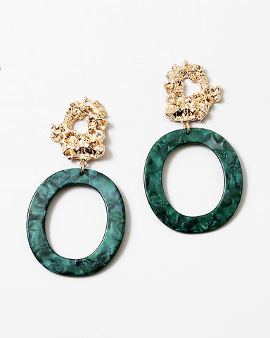 BITZ EMERALD N GOLD GEOMETRIC STATEMENT EARRING