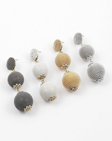 BON DROP EARRING -  METALLIC MESH