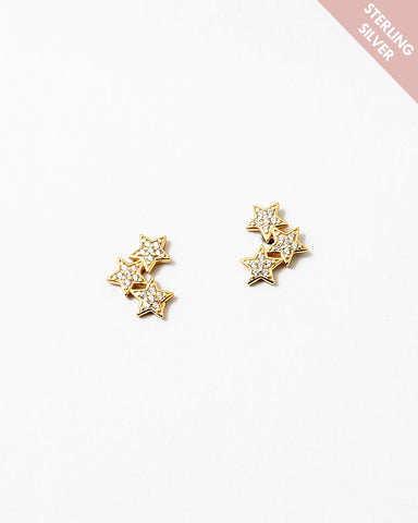BITZ GOLD THREE STARS STUD CRAWLER EARRING - 925 STERLING SILVER CZ