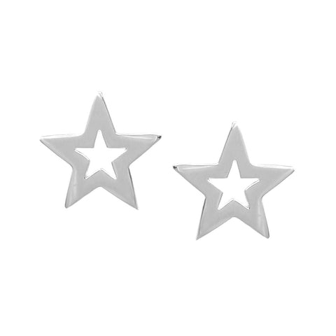 BITZ Polished Metal Star Stud Earrings