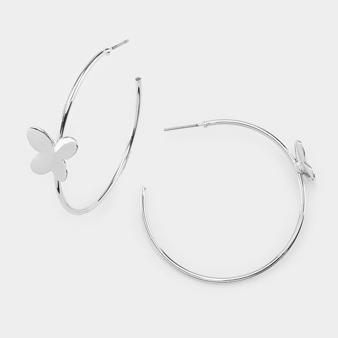 BITZ SHINY BUTTERFLY HOOP EARRING