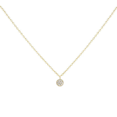 BITZ CZ Pave Mini Round Disc Pendant Short Necklace