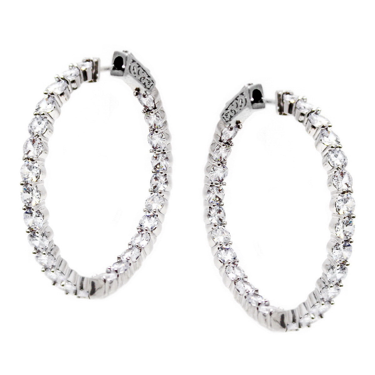 BITZ CZ HOOP EARRING - NOW IN TWO SIZES!