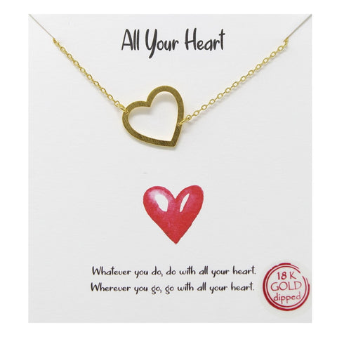 Tell Your Story: All Your Heart Pendant Simple Chain Necklace