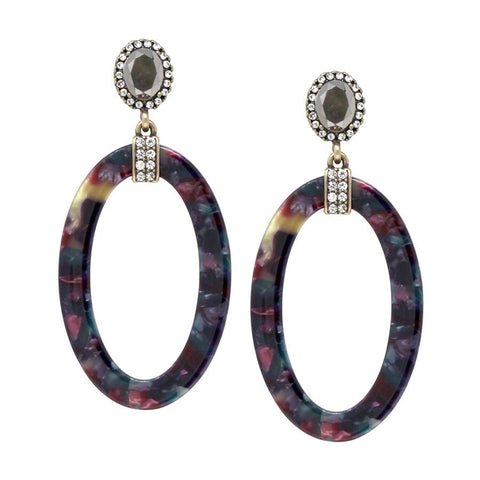 OVAL STATEMENT EARRING - DARK MULTI