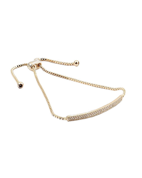 BITZ DELICATES CZ BAR BRACELET - GOLD/SILVER